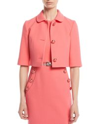 Michael Kors - Three-button Stretch-boucle Crepe Cropped Jacket - Lyst
