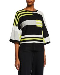 Joan Vass - Multicolor Block-stripe 3/4-sleeve Cotton Sweater - Lyst