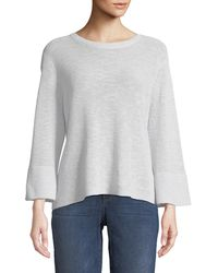Eileen Fisher - 3/4-sleeve Ribbed Organic Linen And Cotton Sweater - Lyst