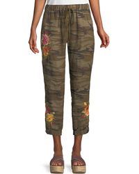 Johnny Was Vella Embroidered Linen Jogger Pants - Green