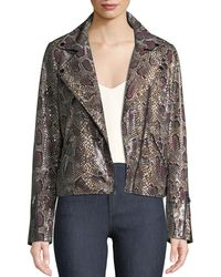 Neiman Marcus - Snake-print Genuine Lamb Leather Moto Jacket - Lyst