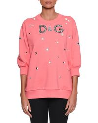 Dolce & Gabbana - Three-quarter Sleeve Crystal-embellished Oversized Sweatshirt - Lyst