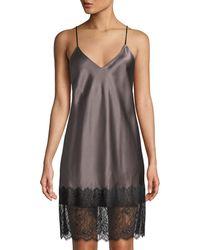 Neiman Marcus - Lace-trim Silk Chemise - Lyst