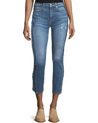 7 For All Mankind - Roxanne Ankle Skinny-leg Jeans W/ Frayed Tux Stripe - Lyst
