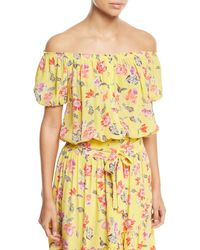 fff7e1bd0b8f7 Joie - Derfuta Off-the-shoulder Short-sleeve Floral-print Silk Top