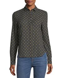 Brock Collection - Baylee Long-sleeve Button-front Dot-print Voile Shirt - Lyst