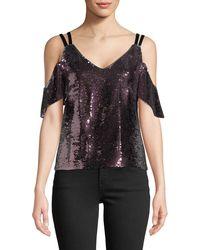 Nanette Lepore - Cold-shoulder Sparkle Sequin Top - Lyst