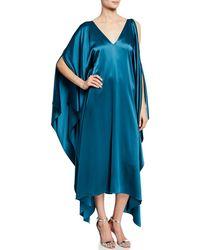 f8e45b354392f7 St. John - Liquid Satin Drape Asymmetric Dress - Lyst