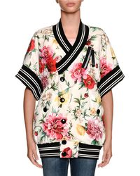 Dolce & Gabbana - Short-sleeve Floral-print Wrap Snap-front Bomber Jacket - Lyst