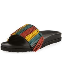 Buscemi - Multicolor Fringe Leather Slide Sandal - Lyst