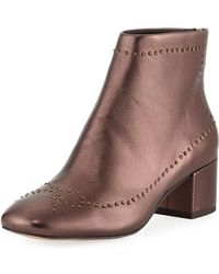 Donald J Pliner - Cafne Bow Studded Metallic Leather Booties - Lyst
