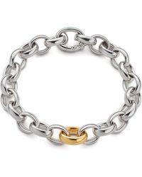 Monica Rich Kosann - Sterling Silver Bracelet With 18k Yellow Gold Link - Lyst