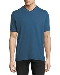 Emporio Armani - V-neck T-shirt W/ Contrast Piping - Lyst