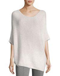 St. John | Reverse Jersey Cashmere Asymmetric Sweater | Lyst
