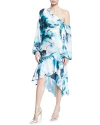 THEIA - One-shoulder Hi-low Tie-dye Dress W/ Blouson-sleeves - Lyst