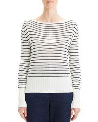 Theory - Striped Boat-neck Sweater - Lyst