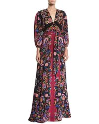 2dc62c92b1d8e Lyst - Etro Leopard   Paisley Long-sleeve Gown in White