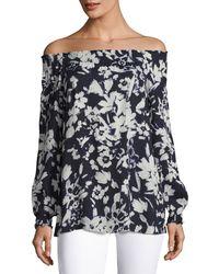 Lafayette 148 New York   Raelyn Floral-print Off-the-shoulder Blouse   Lyst
