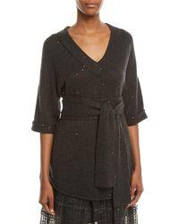 Brunello Cucinelli - V-neck 3/4-sleeve Sequin Cashmere-silk Sweater W/ Wrap Belt - Lyst