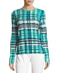 St. John - Ombe Plaid Cashmere Sweater - Lyst