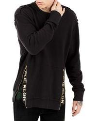 True Religion - Zip-trim Crewneck Sweater - Lyst