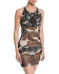 Fuzzi - Wave-print Two-piece Tankini Swimsuit Set - Lyst