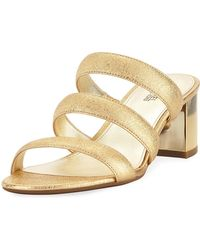 MICHAEL Michael Kors - Paloma Flex Cracked Metallic Leather Sandal - Lyst
