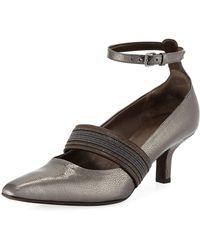 Brunello Cucinelli - 55mm Metallic Leather Ankle-wrap Pumps - Lyst
