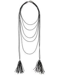 Brunello Cucinelli - Beaded Black Agate Tassel Necklace - Lyst