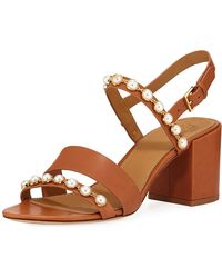 2bbf54ca4475ac Lyst - Tory Burch Emmy Pearly Studded Block-heel Sandals
