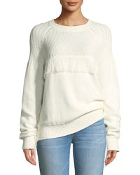 FRAME - Fringe Cotton Crewneck Sweater - Lyst