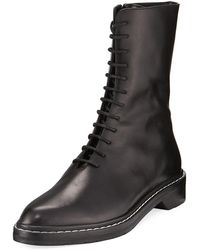 The Row - Fara Lace-up Leather Combat Boot - Lyst