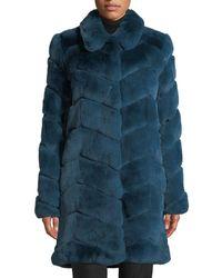 Belle Fare - Oversized Chevron Fur Coat - Lyst