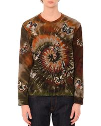 Valentino - Butterfly-embroidered Long-sleeve Tie-dye T-shirt - Lyst