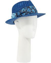 Etro - Men's Straw Fedora Hat With Silk Band - Lyst