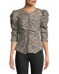 6d2cb5f135868b Rebecca Taylor - Ruched Puff-sleeve Leopard-print Top - Lyst