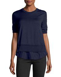 Moncler - Maglia Frilly Half-sleeve Peplum Shirt - Lyst