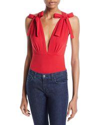 MISA - Paolla Sleeveless Bow Bodysuit - Lyst