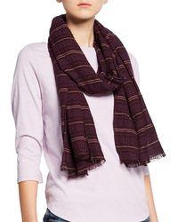 2eb9b8990734 Eileen Fisher - Washed Organic Cotton Rows Scarf - Lyst