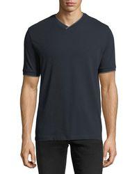 Emporio Armani - Pique V-neck T-shirt W/ Contrast Trim - Lyst