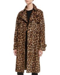 Michael Kors - Leopard-print Double-breasted Haircalf Trench Coat - Lyst