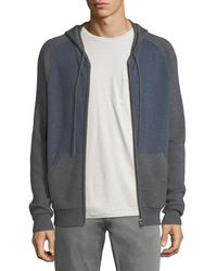 Neiman Marcus - Cashmere-cotton Colorblock Zip-front Baseball Hoodie - Lyst