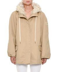 Ermanno Scervino - Zip-front Cotton Taffeta Hooded Parka Jacket Floral-embroidery Trim - Lyst