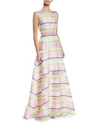 Delpozo - Sleeveless Floral-applique Belt Striped-organza A-line Gown - Lyst