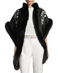 Sofia Cashmere - Floral Embroidered Shawl W/ Fur Trim - Lyst