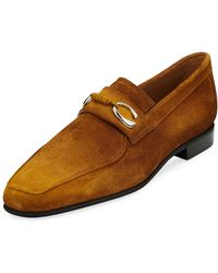 Corthay - Men's Cannes Suede Loafers With Bit Detail - Lyst