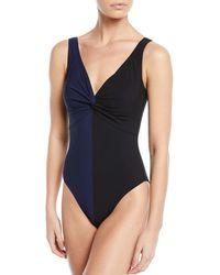 Karla Colletto - Sorella Colorblock V-neck Underwire One-piece Swimsuit - Lyst