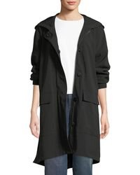 Eileen Fisher - Hooded Long-sleeve A-line Coat W/ Dual-front Closure & Pockets - Lyst