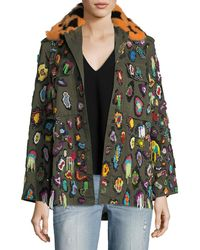 Libertine | Beaded Army Jacket With Fur Collar | Lyst
