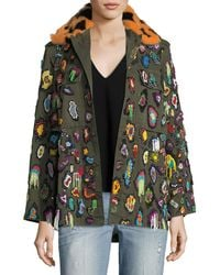 Libertine - Beaded Army Jacket With Fur Collar - Lyst
